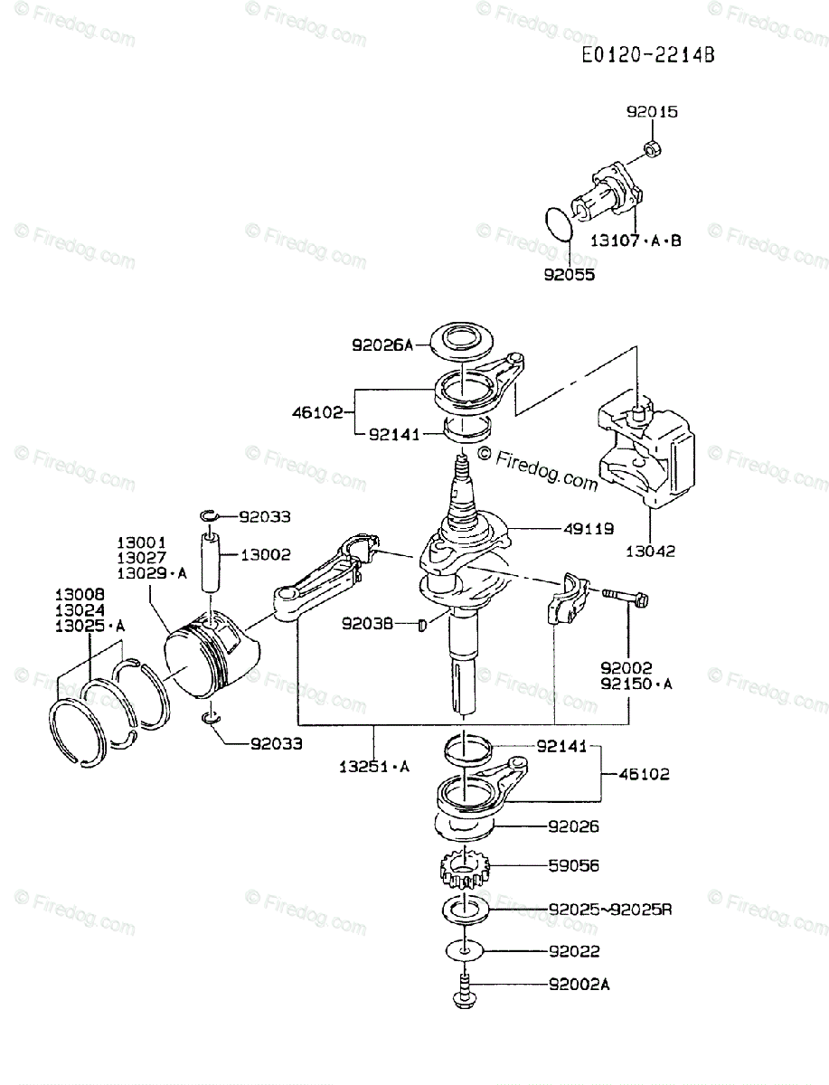 kawasaki 4 stroke engine fc420v oem parts diagram for piston & crankshaft |  firedog com
