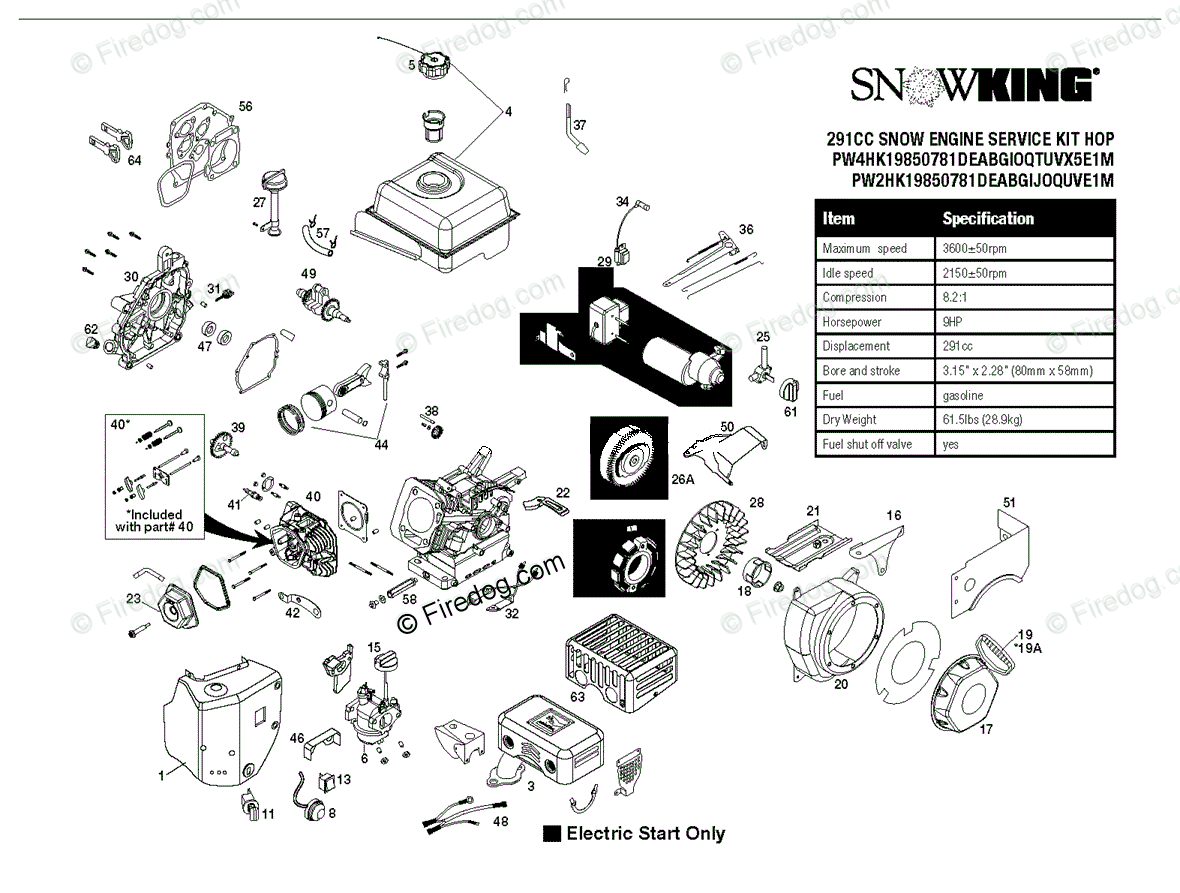 husqvarna snow blowers/throwers 12527hv - 96193007100 (2011-06) oem parts  diagram for engine | firedog com