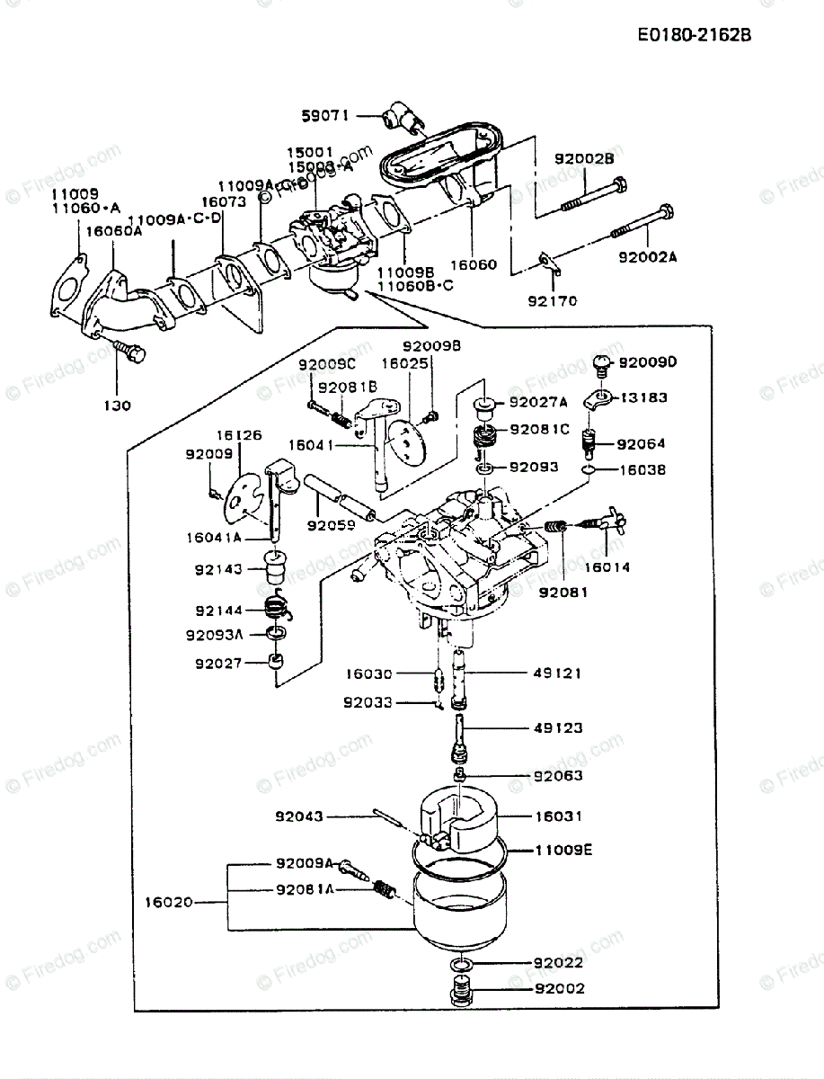 Kawasaki 4 Stroke Engine Fb460v Oem Parts Diagram For Carburetor 360