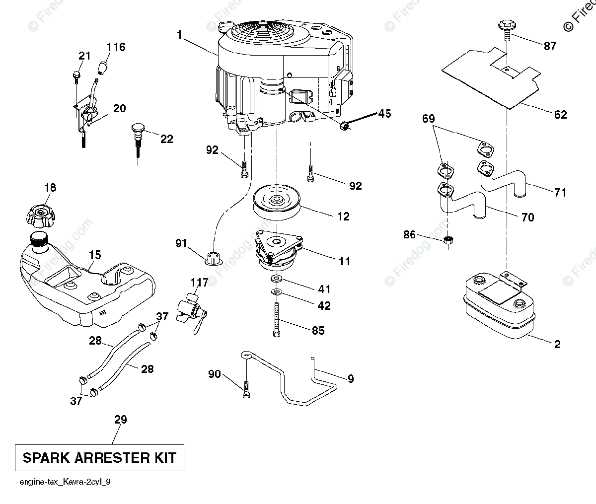 Husqvarna TRACTORS/RIDE MOWERS GTH26V52LS - 96043011802 (2011-06) OEM Parts  Diagram for Engine - Firedog.com