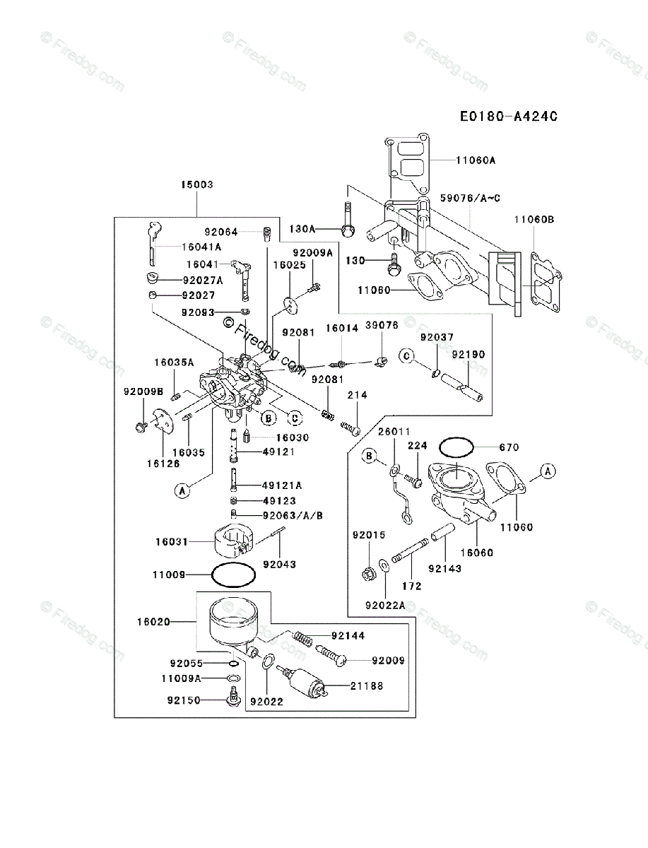 Kawasaki Fd590v Carburetor Diagram Reinvent Your Wiring 750 Sx 4 Stroke Engine Oem Parts For Rh Firedog Com Prairie Atv Vulcan 1982