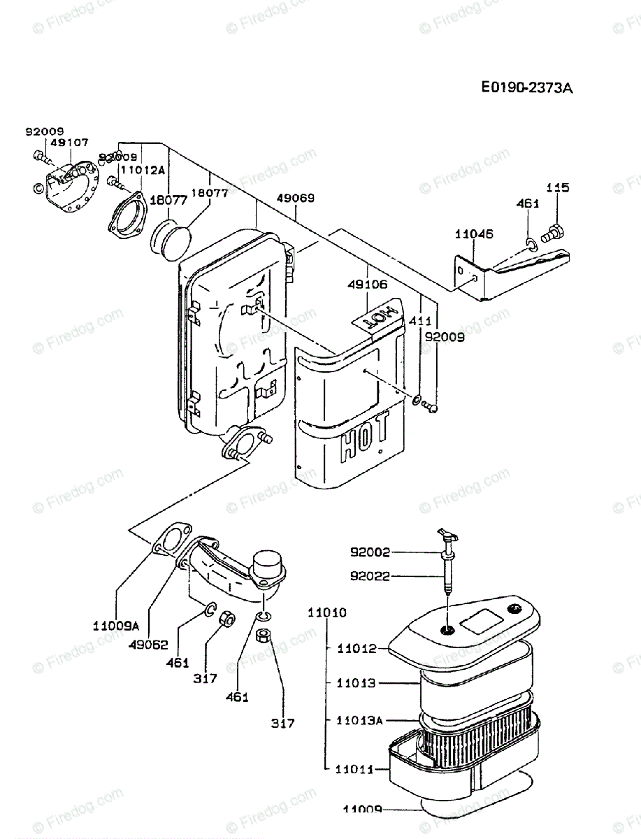 kawasaki 4 stroke engine fc420v oem parts diagram for air-filter/muffler |  firedog com