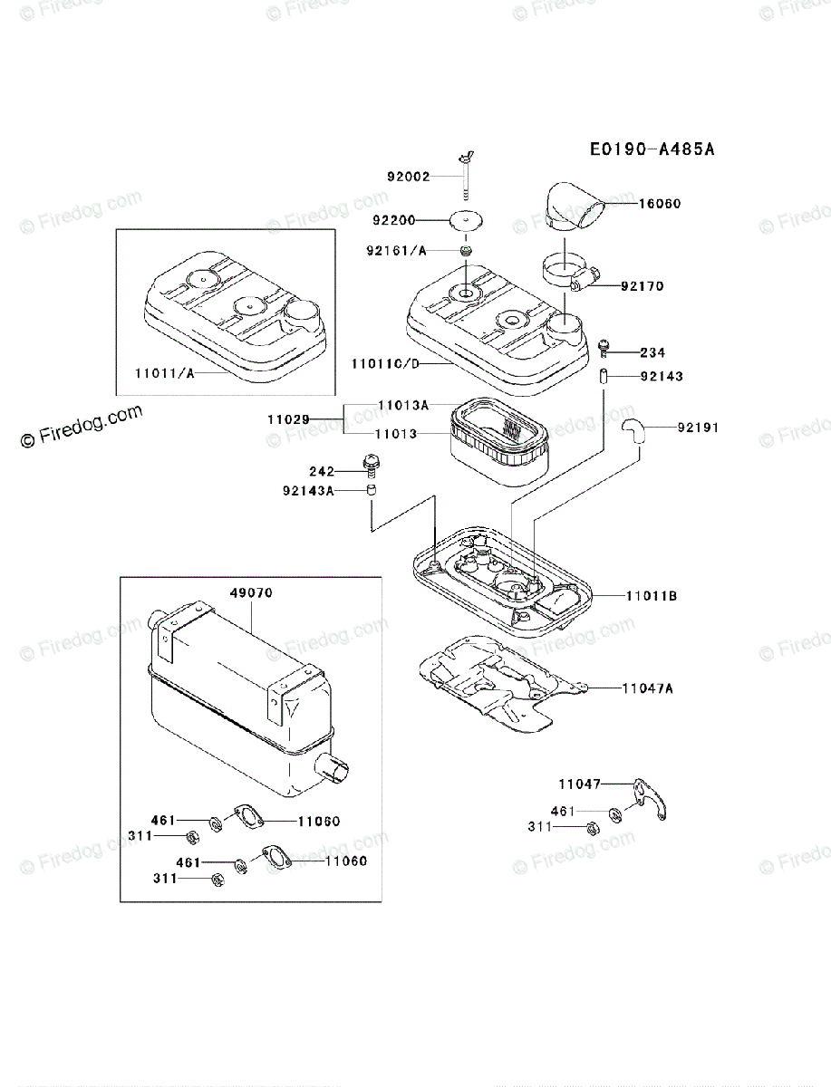 Kawasaki 4 Stroke Engine Fd661d Oem Parts Diagram For Air Filter Muffler