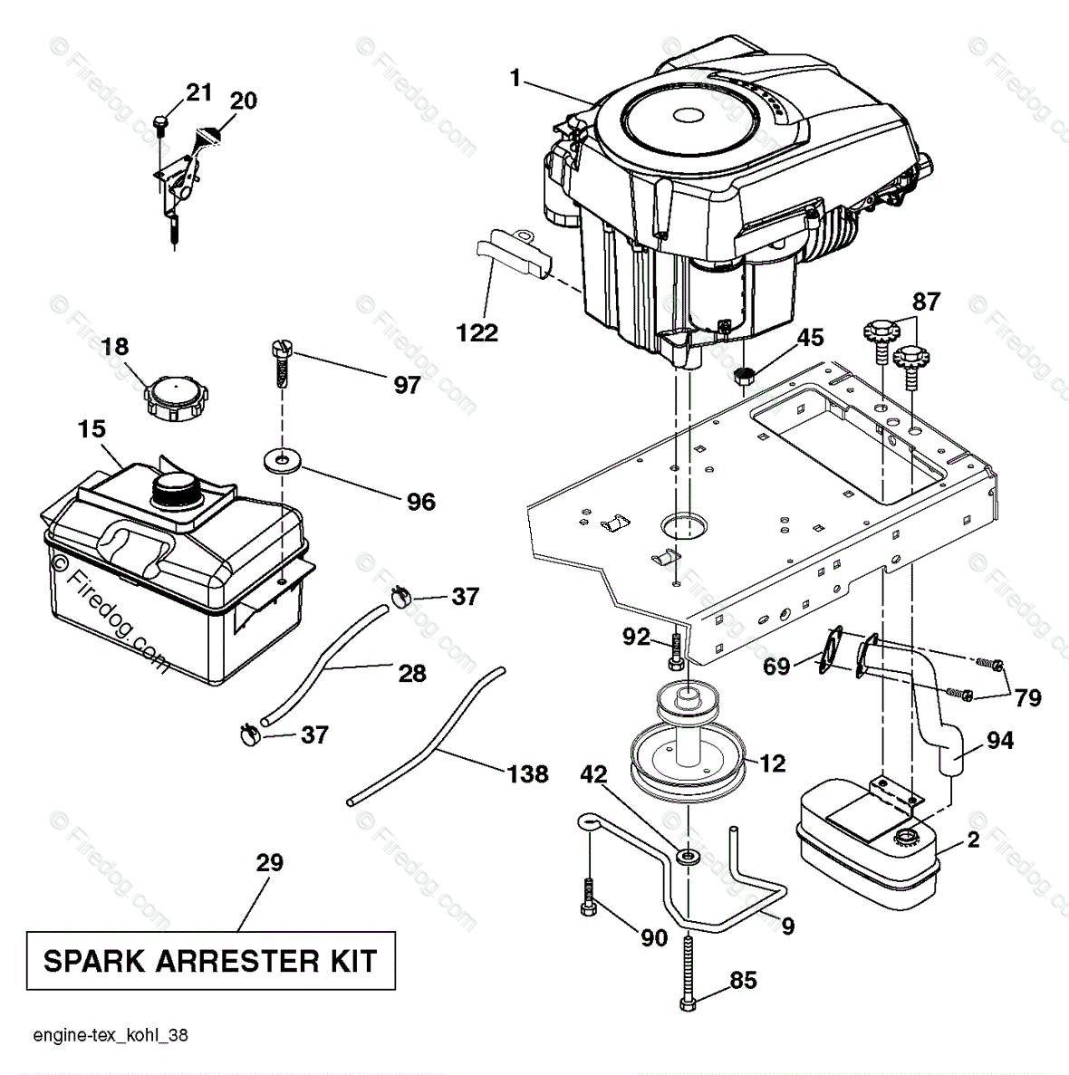 Husqvarna TRACTORS/RIDE MOWERS YTA19K42 - 96043013900 (2011-08) OEM Parts  Diagram for Engine - Firedog.com