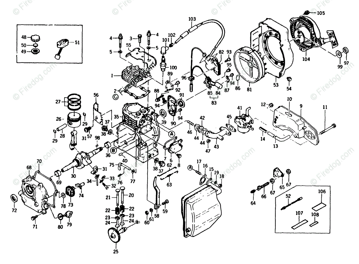 Briggs & Stratton Power Products United States Portable Generators OEM  Parts Diagram for Engine Assembly P/N 65186 - Kawasaki Model Nbr. FA 76 -  Firedog.com