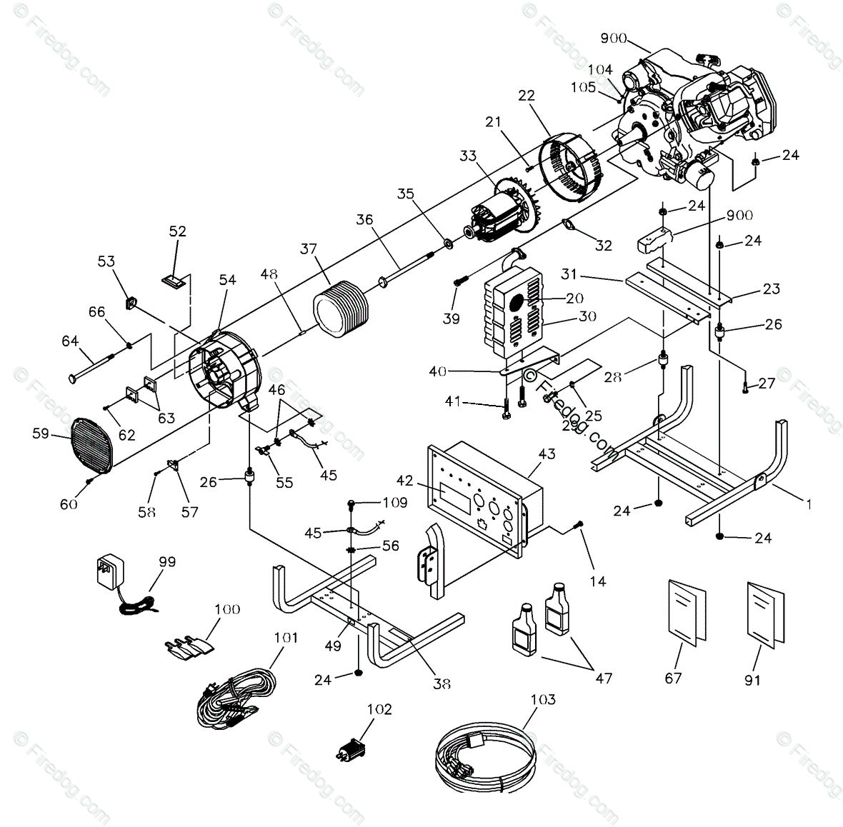 Briggs & Stratton Power Products United States Portable Generators OEM  Parts Diagram for Alternator - Firedog.com