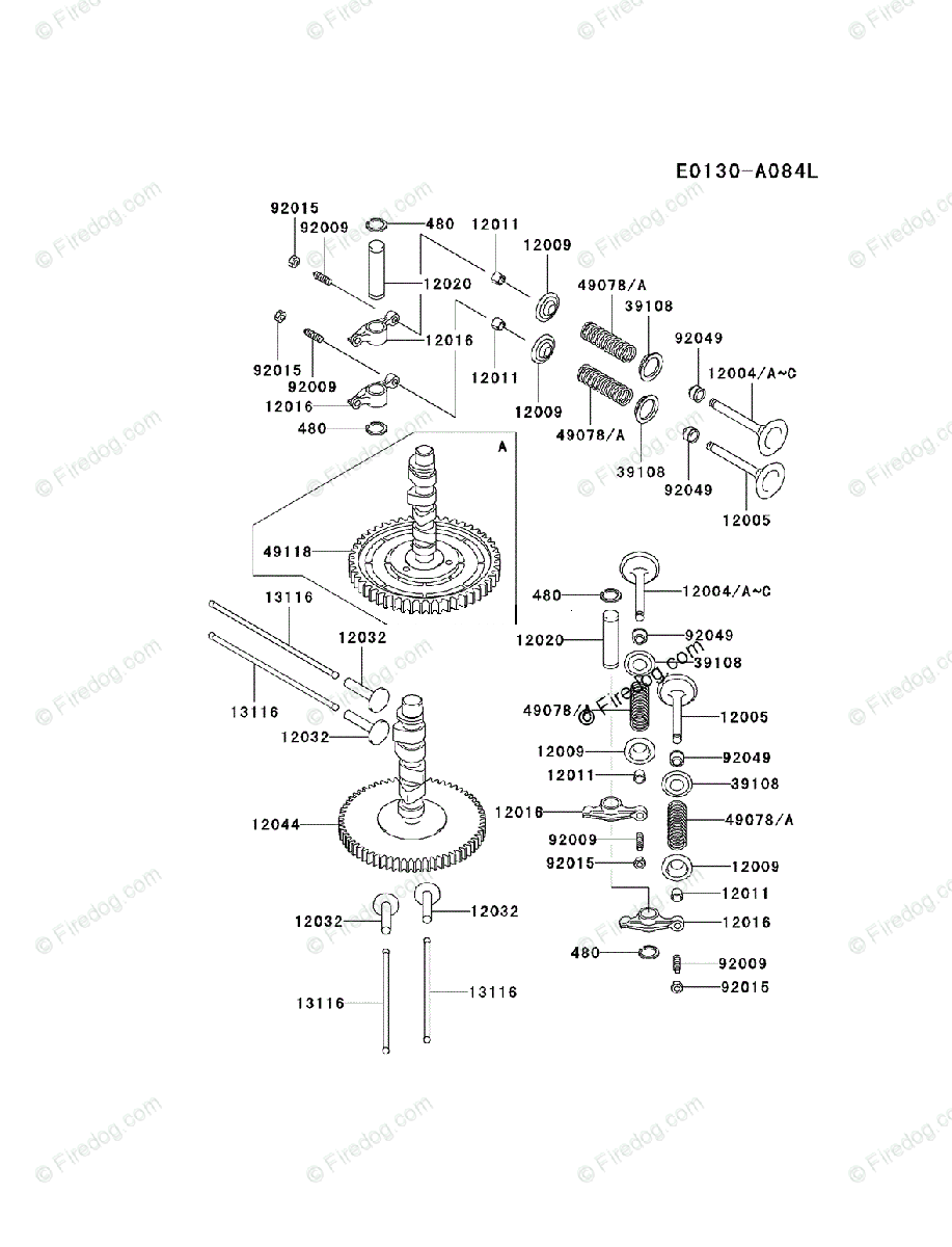 kawasaki 4 stroke engine fd590v oem parts diagram for valve + camshaft |  firedog com