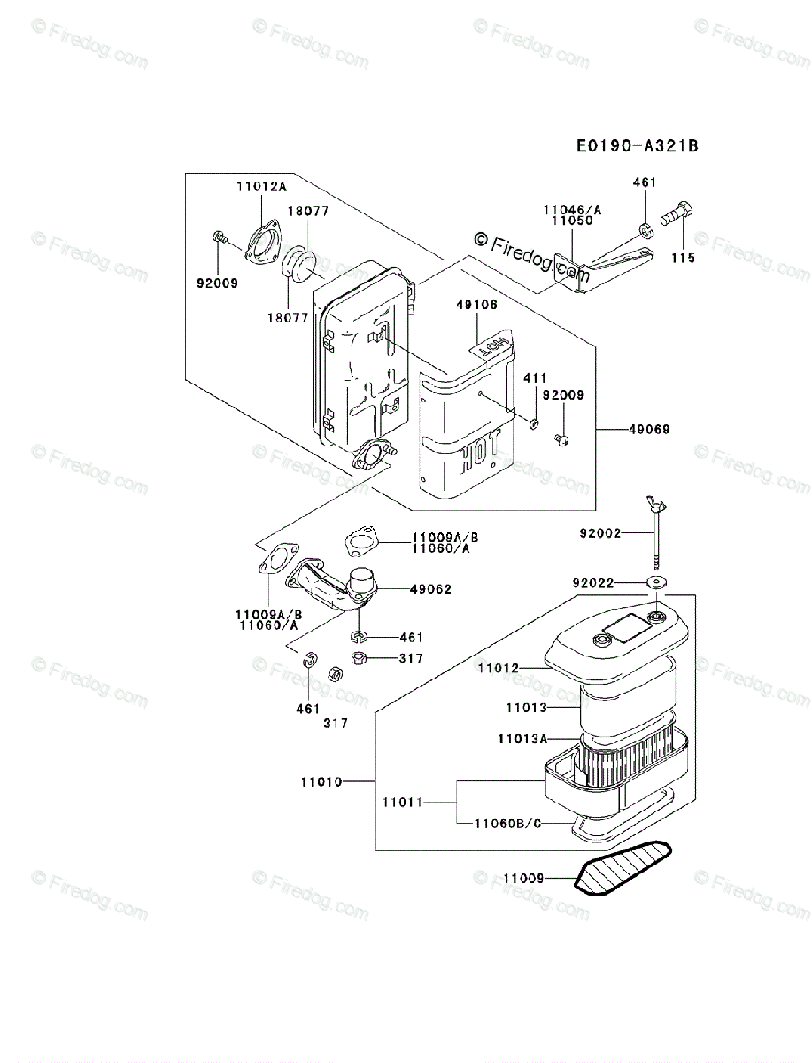 Kawasaki 4 Stroke Engine FC420V OEM Parts Diagram for AIR-FILTER/MUFFLER -  Firedog.com
