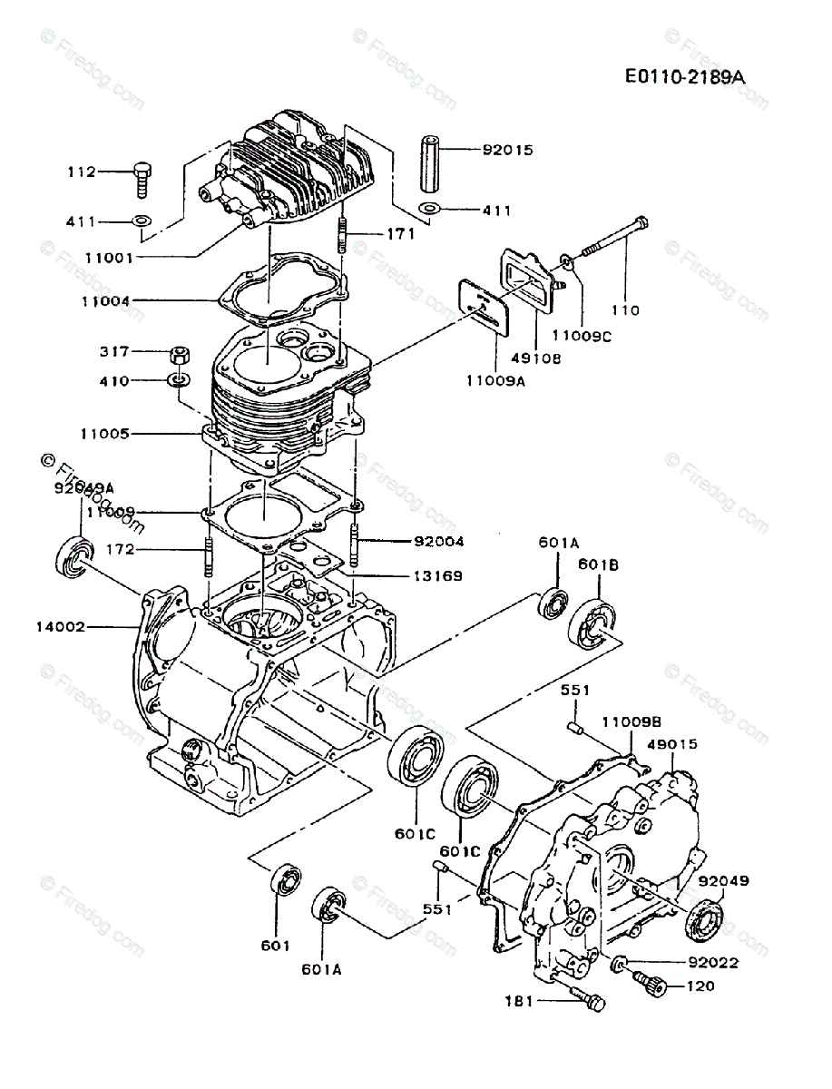 Kawasaki 4 Stroke Engine Fz340d Oem Parts Diagram For Cylinder Crankcase