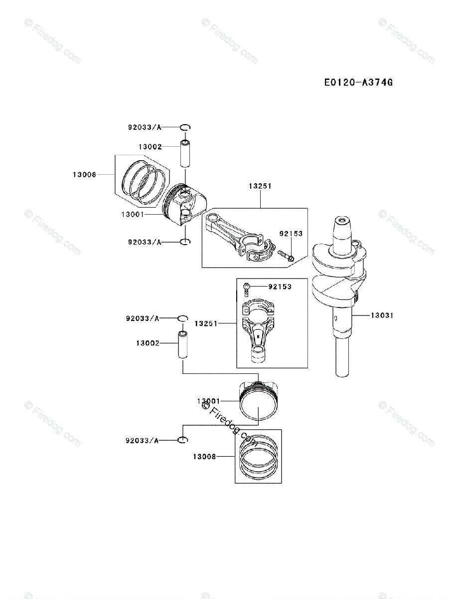 Kawasaki 4 Stroke Engine FX850V OEM Parts Diagram for Piston & Crankshaft -  Firedog.com
