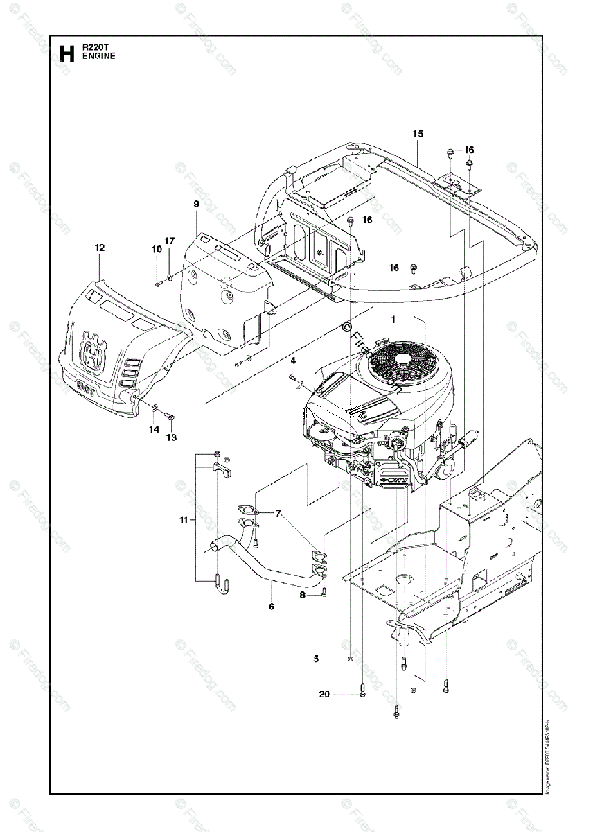 husqvarna riders r322t awd - 966785801 (2012-03) oem parts diagram for  engine | firedog com