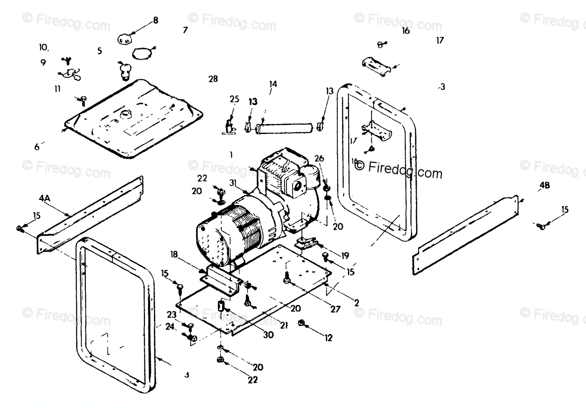 Briggs & Stratton Power Products United States Portable Generators OEM  Parts Diagram for Cradle - Firedog.com