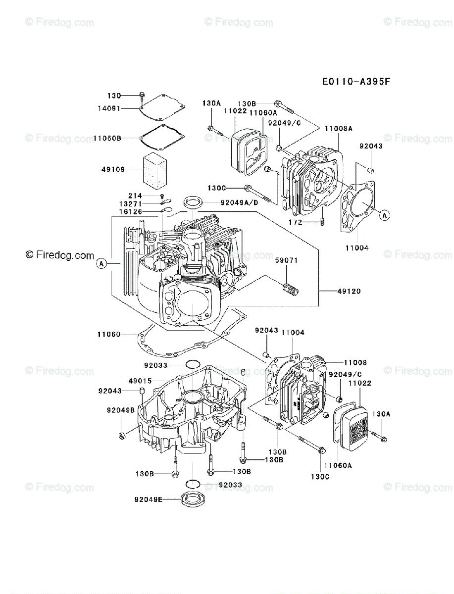 Kawasaki 4 Stroke Engine FH601V OEM Parts Diagram for CYLINDER & CRANKCASE  - Firedog.com