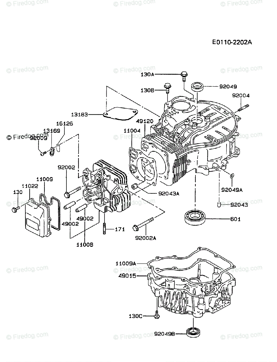 Kawasaki 4 Stroke Engine FC420V OEM Parts Diagram for CYLINDER & CRANKCASE  - Firedog.com