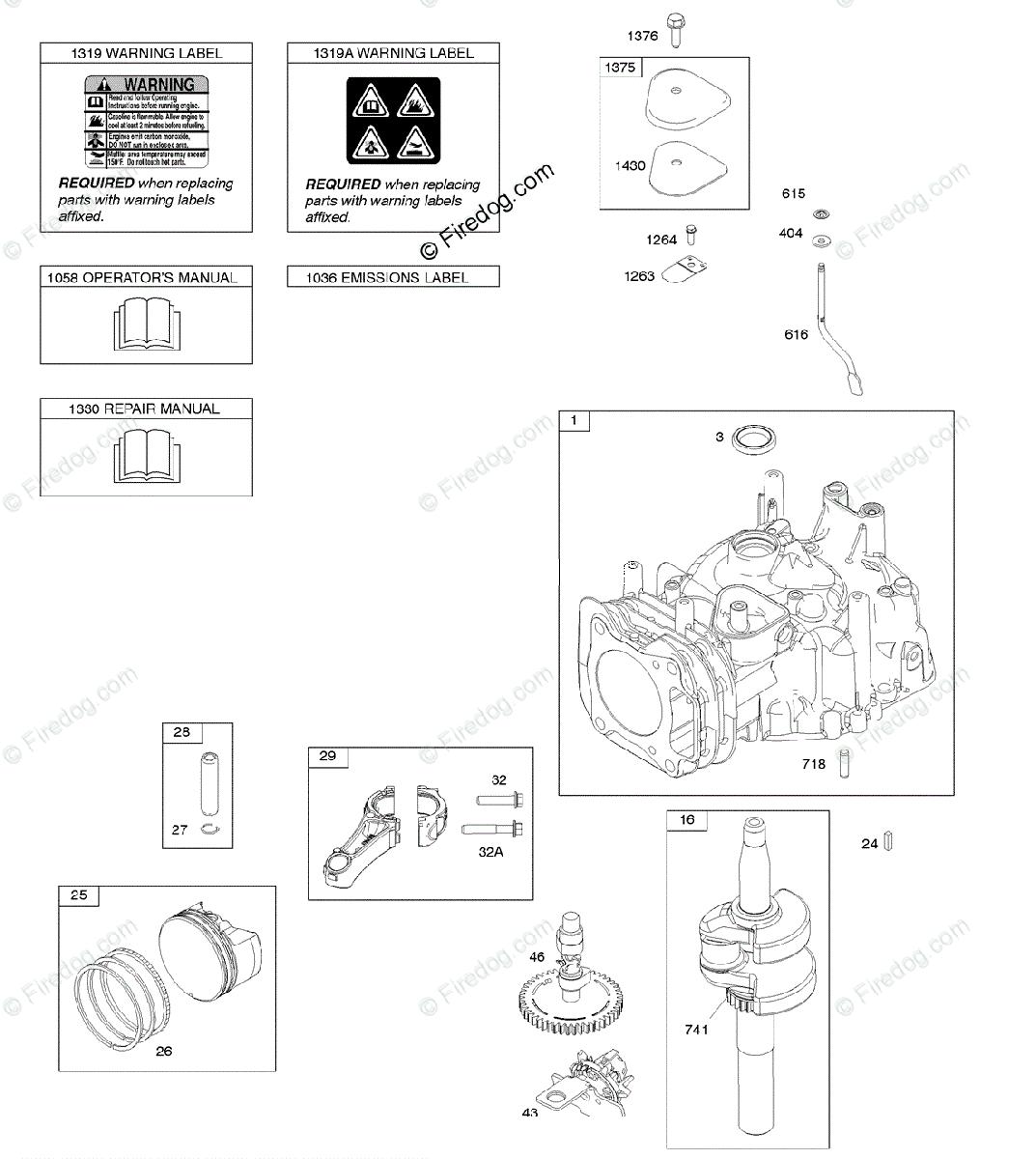 Briggs & Stratton 100000 - 19Z999 Series 11P900 to 11P999 OEM Parts