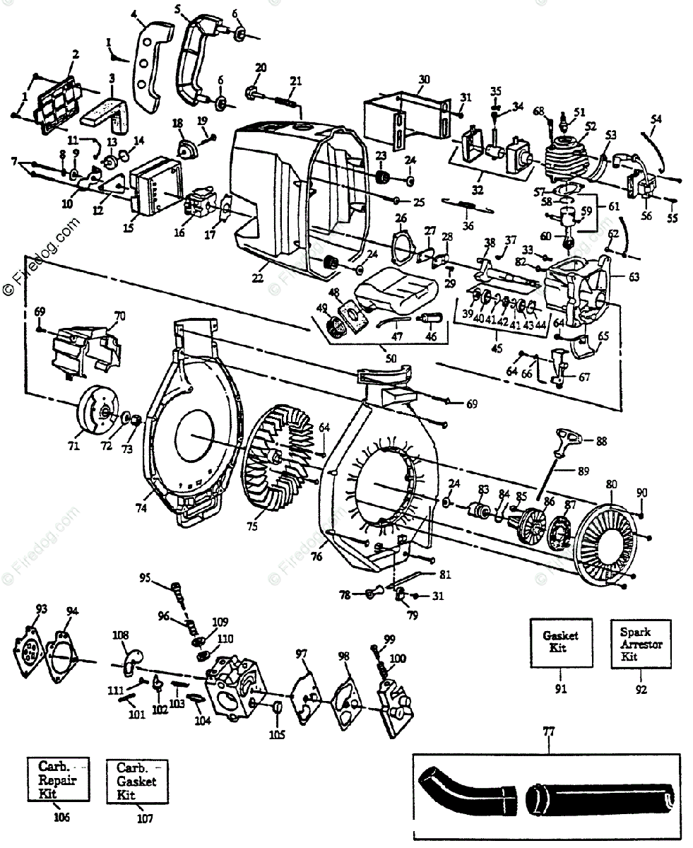 Husqvarna Blower 122 HBV (1992-01) OEM Parts Diagram for Spare Parts