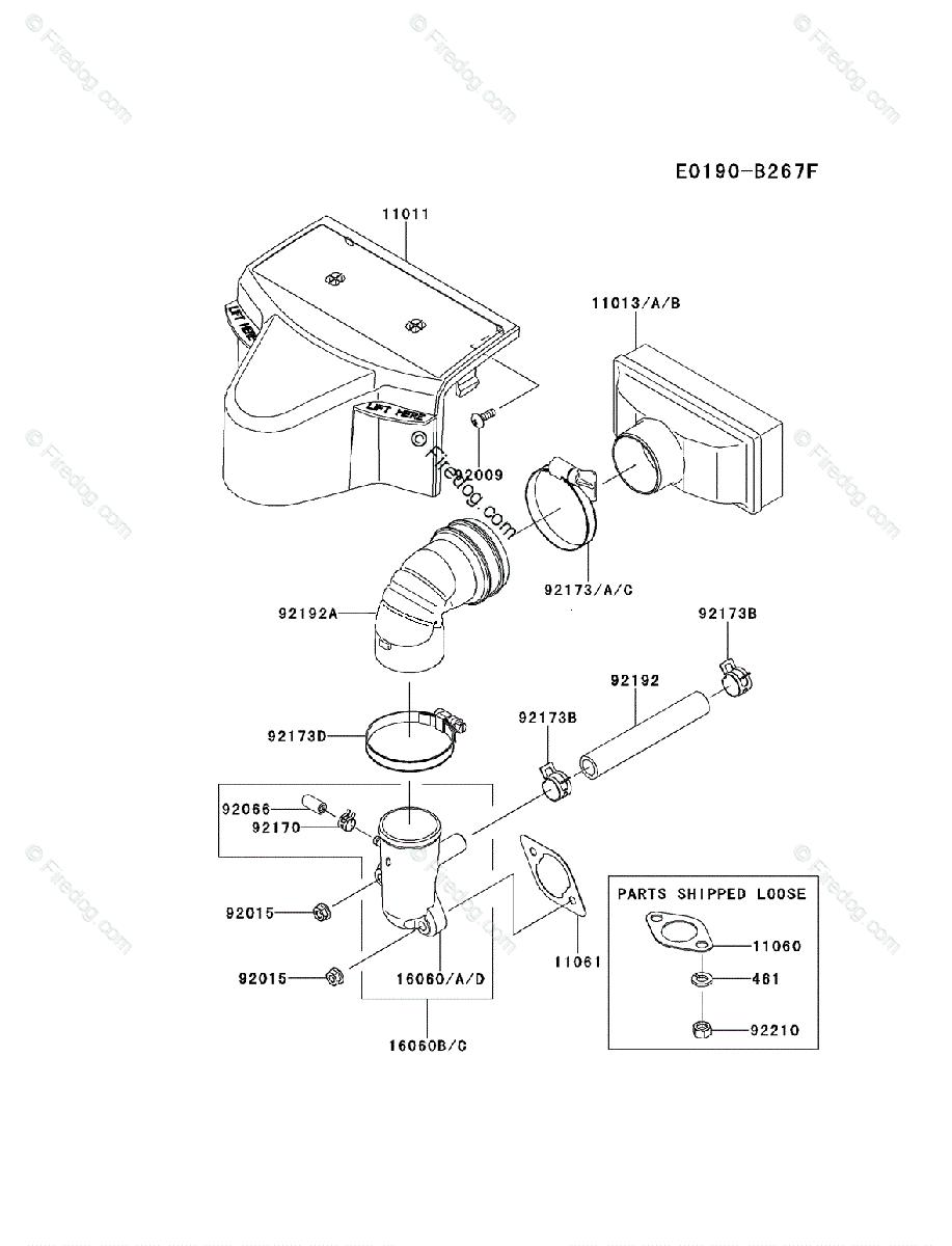 kawasaki 4 stroke engine fr600v oem parts diagram for air muffler
