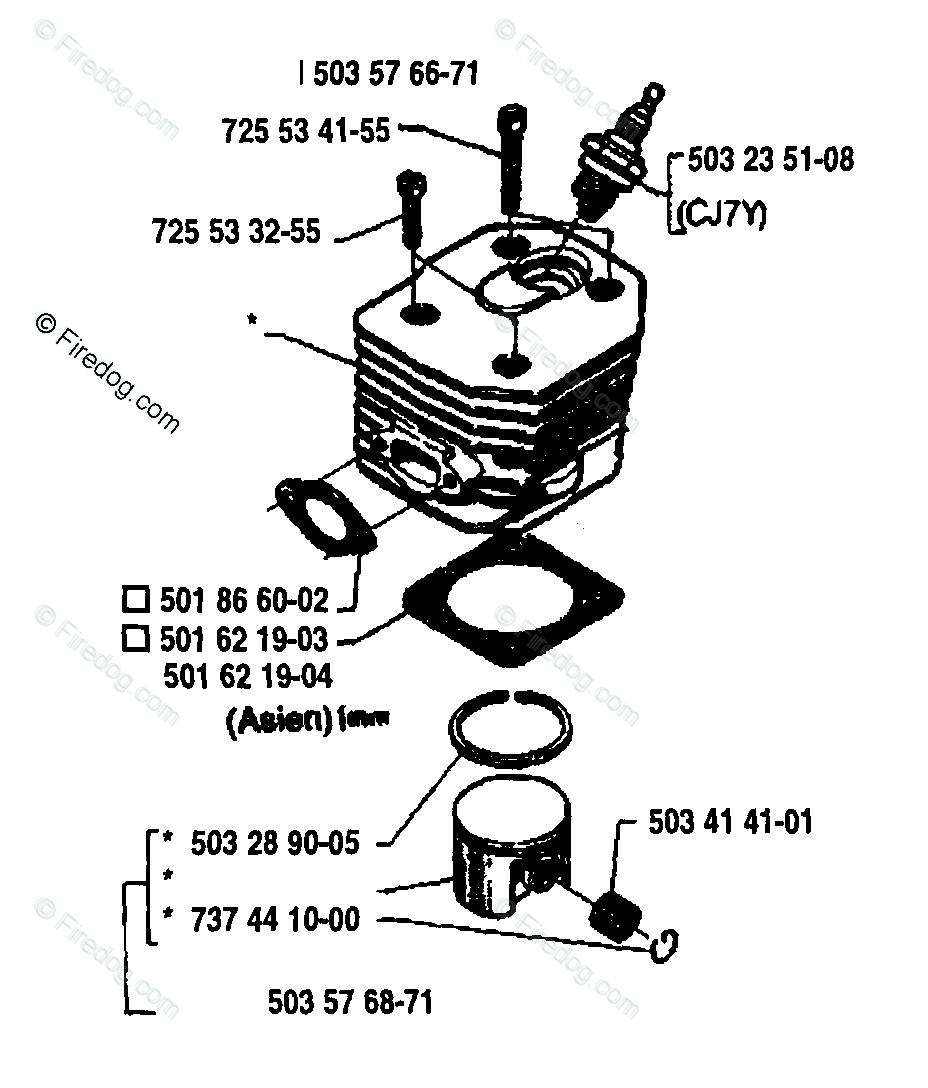 Husqvarna Chain Saw 42 (1992-03) OEM Parts Diagram for Piston