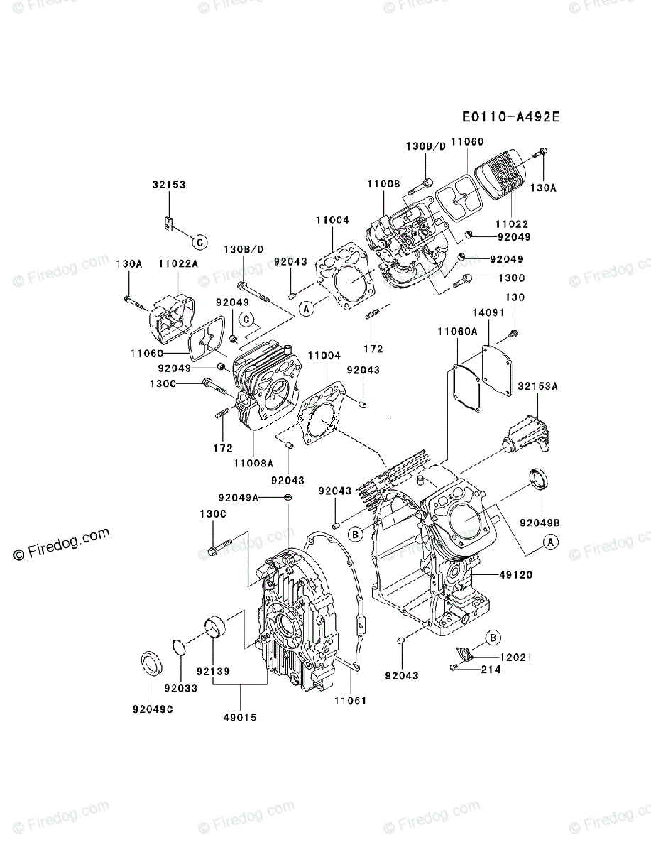 Kawasaki 4 Stroke Engine FH721D OEM Parts Diagram for CYLINDER & CRANKCASE  - Firedog.com