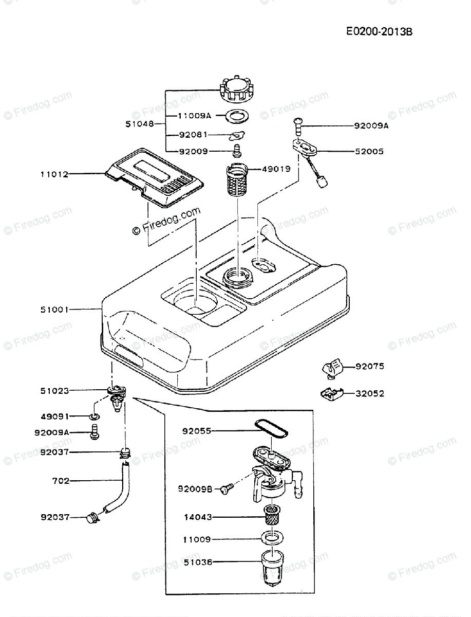 kawasaki generator ga2300a oem parts diagram for fuel tank