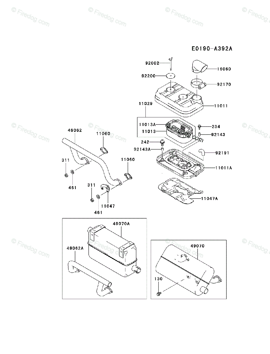 Kawasaki 4 Stroke Engine FD620D OEM Parts Diagram for AIR-FILTER/MUFFLER -  Firedog.com