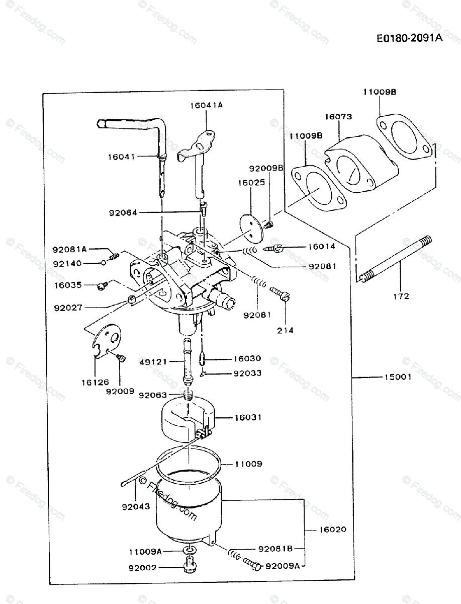 kawasaki 4 stroke engine fg300d oem parts diagram for carburetor