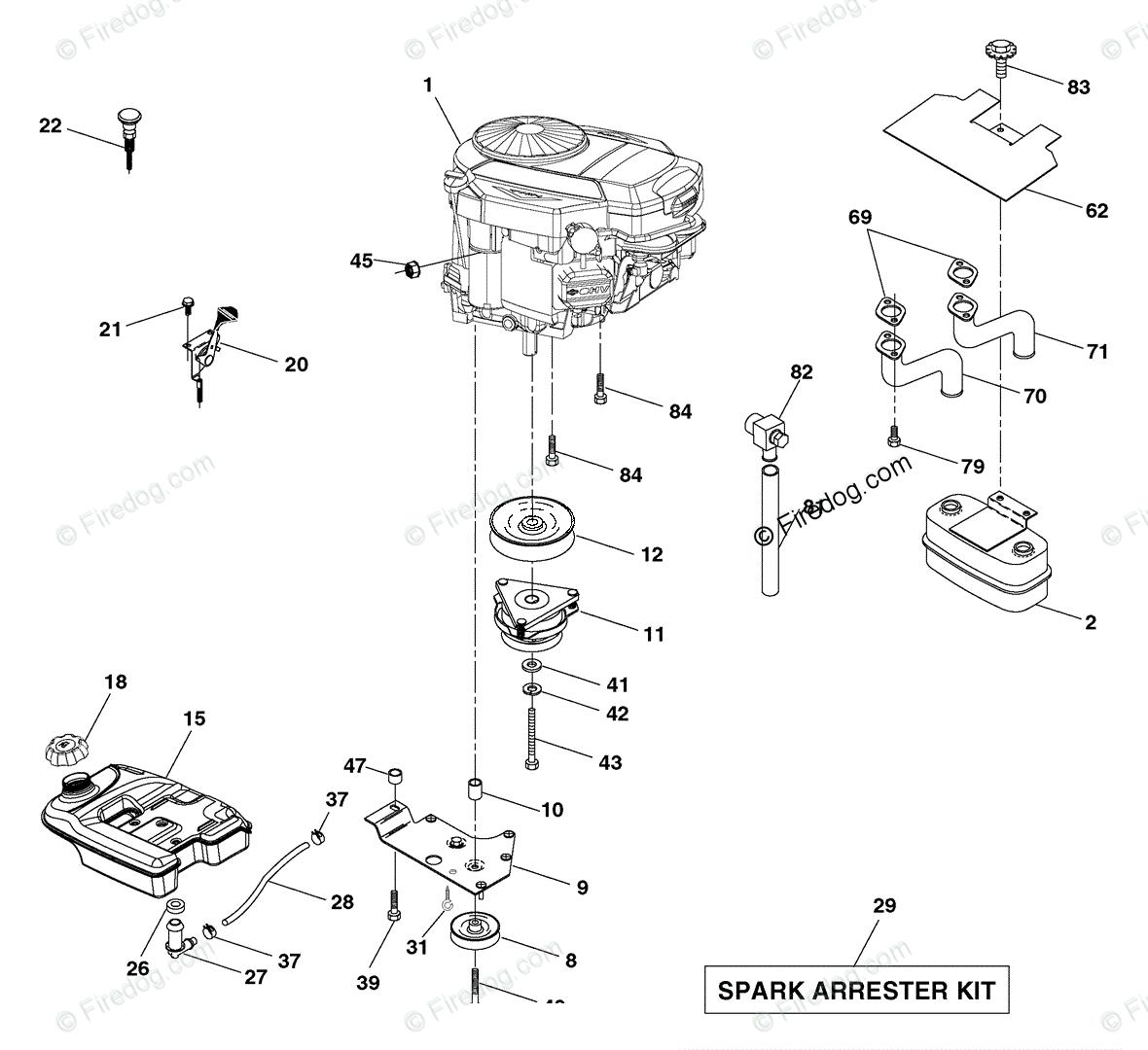 Husqvarna Ride Mower Gth 2654 96023000600 2005 03 Oem Parts Engine Diagram For
