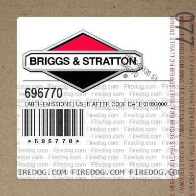696770 Label-Emissions | Used After Code Date 01093000