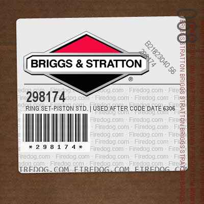 298174 Ring Set-Piston Std. | Used After Code Date 6306141