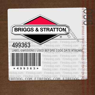 499363 Label-Emissions | Used Before Code Date 97052600