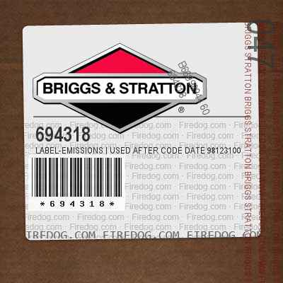 694318 Label-Emissions | Used After Code Date 98123100 Used Before Code Date 99010100