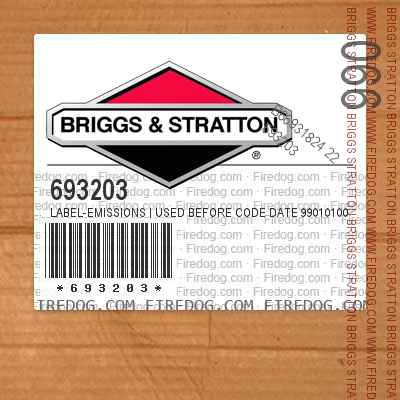 693203 Label-Emissions | Used Before Code Date 99010100