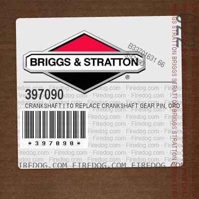 397090 Crankshaft | To Replace Crankshaft Gear Pin, Order Part No. 230978