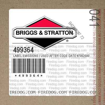 499364 Label-Emissions | Used After Code Date 97052500 Used Before Code Date 98010100