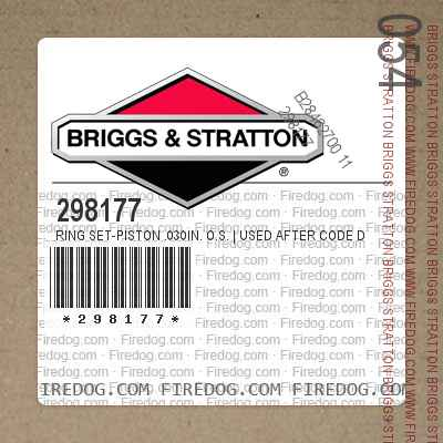 298177 Ring Set-Piston .030in. O.S.   Used After Code Date 6306141