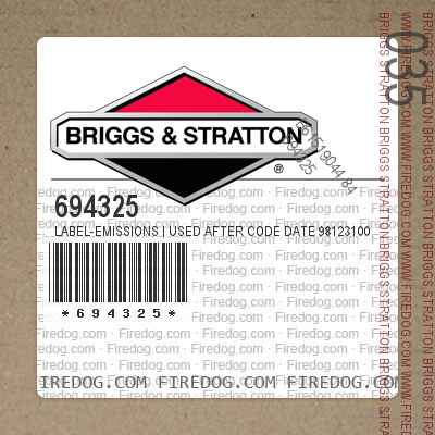 694325 Label-Emissions | Used After Code Date 98123100 and Before Code Date 99100100