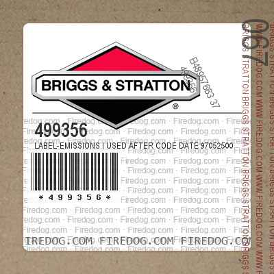 499356 Label-Emissions | Used After Code Date 97052500 Used Before Code Date 99010100
