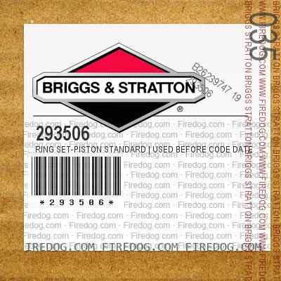 293506 Ring Set-Piston Standard   Used Before Code Date 5810060