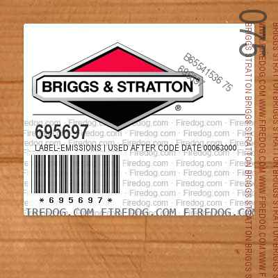 695697 Label-Emissions   Used After Code Date 00063000 Used Before Code Date 01100100