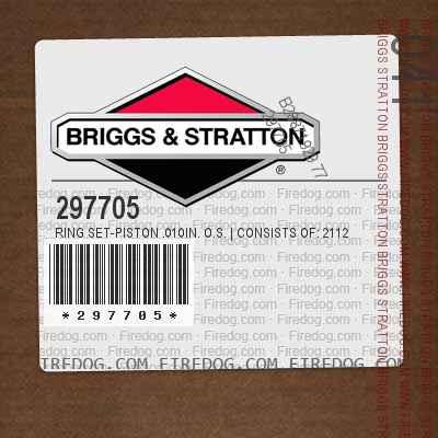 297705 Ring Set-Piston .010in. O.S.   Consists of: 211241 Ring, Piston, Comp., Top, .010in. O.S. 211244 Ring, Piston, Center, .010in. O.S. 211247 Ring, Piston, Piston, Oil, .010in. O.S. in.Kool-Borein. Trademark of Briggs  Stratton Corp.