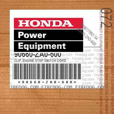 90660-ZA0-600 CLIP, ENGINE STOP SWITCH CORD