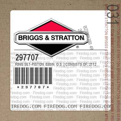 297707 Ring Set-Piston .030in. O.S.   Consists of: 211243 Ring, Piston, Comp., Top, .030in. O.S. 211246 Ring, Piston, Comp., Center, .030in. O.S. 211249 Ring, Piston, Oil, .030in. O.S. FOR in.KOOL BOREin. Trademark of Briggs  Stratton Corp.