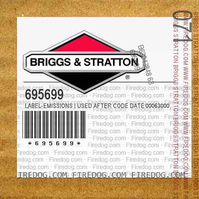 695699 Label-Emissions | Used After Code Date 00063000