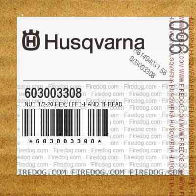 603003308 Nut, 1/2-20 Hex, Left-Hand Thread