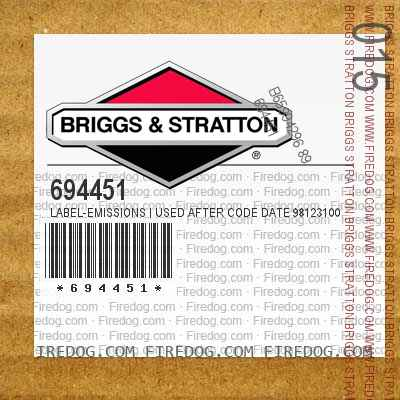 694451 Label-Emissions | Used After Code Date 98123100 Used Before Code Date 99100100