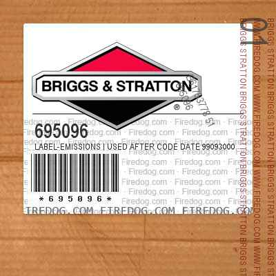 695096 Label-Emissions | Used After Code Date 99093000 Used Before Code Date 00070100