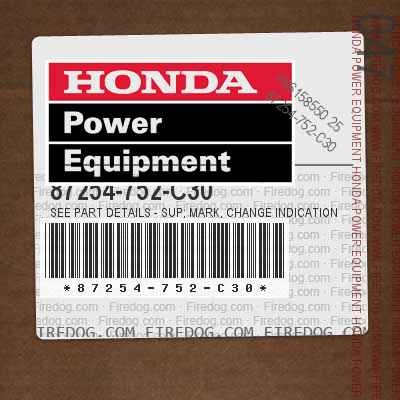 87254-752-C30 SEE PART DETAILS - SUP; MARK, CHANGE INDICATION (2/4WD)